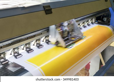 Large printer format inkjet working detail yellow color