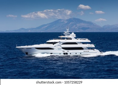 Large private motor yacht at sea