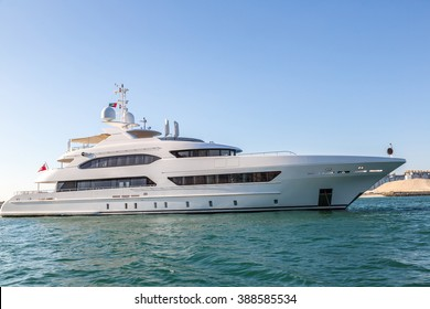 A large private motor yacht in a summer day in the sea