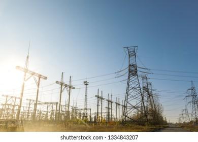 Large pylons at power distributing station