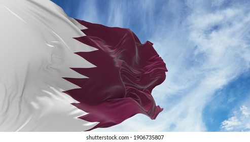 Large Qatar flag waving in the wind