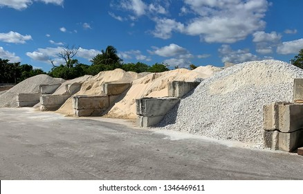 Large quantities of landscaping decorative rocks, stones, sand and pebbles on display and for sale.