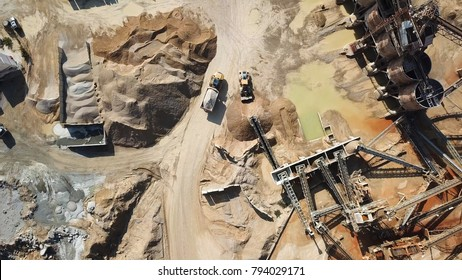 Large Quarry during work hours - Aerial image
