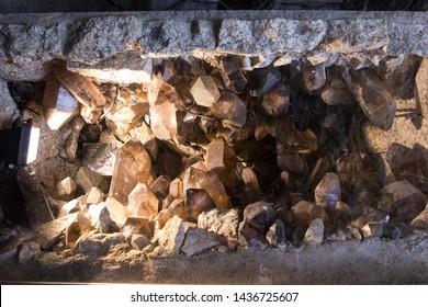 Large quartz crystals in the cave