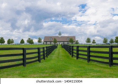 A large racing horse stable in Woodford County, Kentucky. This is part of the bluegrass area and is well known for hosting the Kentucky Derby.