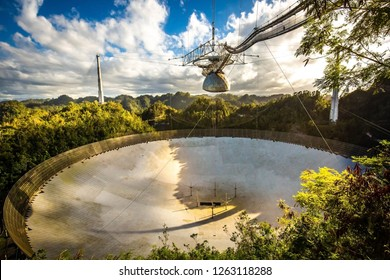 Large radio telescope dish in Arecibo national observatory