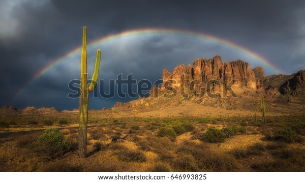 A large rainbow over a saguaro and the Superstition mountains. Taken at the Lost Dutchman State Park in Arizona