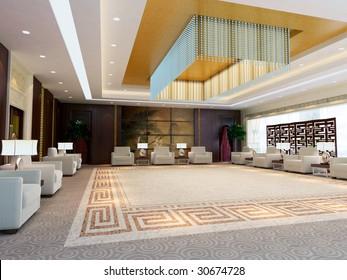 a large reception room.3d render