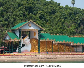 Large reclining Buddha on Pataw Island in Myeik Archipelago, formerly the Mergui Archipelago, in the Tanintharyi Region of Myanmar. Pataw Island is just a ten minutes boat ride from the city of Myeik.
