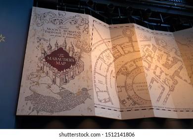 Large recreation of the Marauder's Map on a wall display. Taken at Warner Bros. Harry Potter Studio Tour Drive, Leavesden WD25 7LR, UK, September 2, 2019