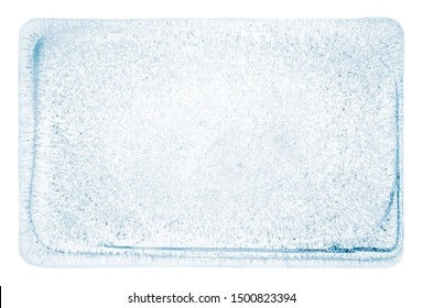 Large rectangle block of clear ice with frozen air bubbles, on white background, with clipping path.