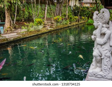 Large rectangular pond at the Gunung Kawi Sebatu Temple, Ubud, Bali, Indonesia. The temple complex is located  approximately 12km northeast from the main Ubud hub.