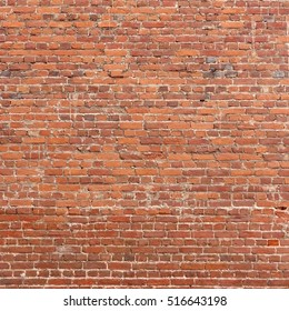 Large Red Brown Old Shabby Brick Wall Square Background Texture.  Retro Urban Brickwall Frame Wallpaper. Grungy Textured Clay Brick Wall.