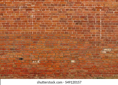 Large Red Brown Old Shabby Brick Wall Background Texture. Horizontal Retro Urban Brickwall Wallpaper. Grungy Studio Backdrop