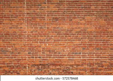 Large Red Brown Old Shabby Brick Wall Background Texture. Horizontal Retro Urban Brickwall Wallpaper. Grungy Studio Backdrop