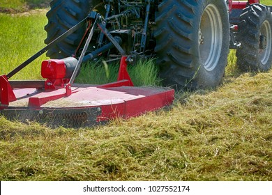 Large red modern tractor mows the grass on the field