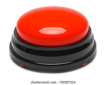 Large Red Push Button Isolated on a White Background.