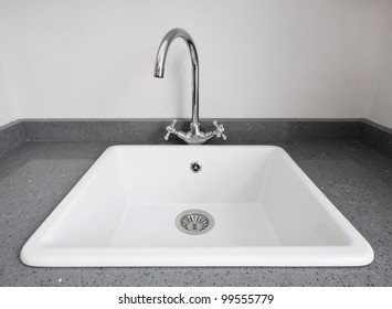 large retro style white ceramic kitchen sink