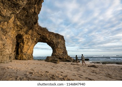 Large rock formation at Bwanna Beach, South West Sumba. Indonesia.