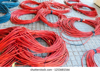 Large rolls of data cables ready to connect television data center during the retransmission of an event.