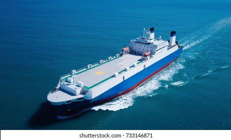 Large RoRo (Roll on/off) vessel cruising the Mediterranean sea