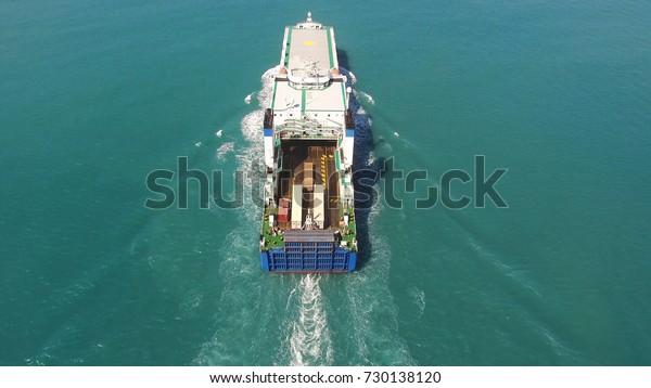 Large RoRo (Roll on/off) vessel cruising the Mediterranean sea.B