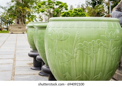 Large round green pots