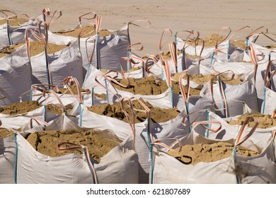 Large sacks filled with sand