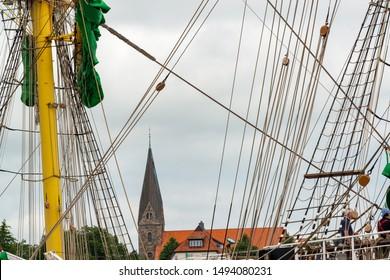 The large sailing ship Alexander von Humboldt in the port of Eckernforde Baltic Sea