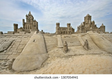 Large sand castle at the beach