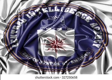 Large satin flag waving - flag of the CIA
