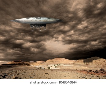a large saucer shaped mothership hovers over a barren world. - Elements of this image furnished by NASA.