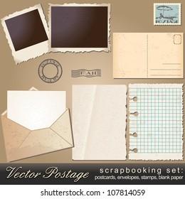 Large scrapbooking set of old, vintage postage design elements - postcards, photos, stamps, envelopes, papers