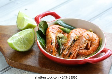 Large seared prawns/shrimp in a chili, lime and garlic glaze