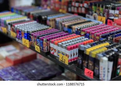 A large selection of lighters in a store in Calella, Spain.