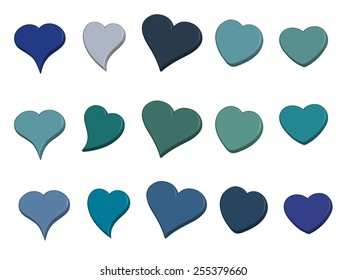 A large set of 3-D hearts in varied shades of blue
