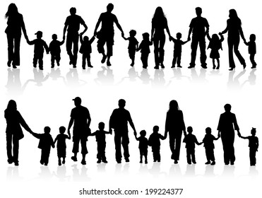 Large Set of Silhouettes of Parents with Children holding Hands, illustration