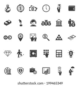 Large set of thirty different simple black and white silhouette money  banking  cash  business and finance icons