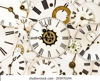 Large set of various vintage clock faces
