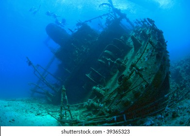 Large shipwreck from the stern