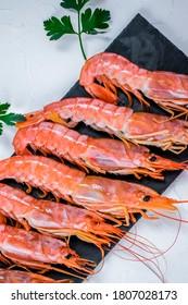 Large shrimps close-up. Soft focus.