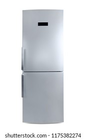 Large silver colored closed fridge front view. Isolated on white, clipping path included