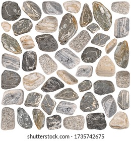 Large size collection of stones isolated on white background.close up