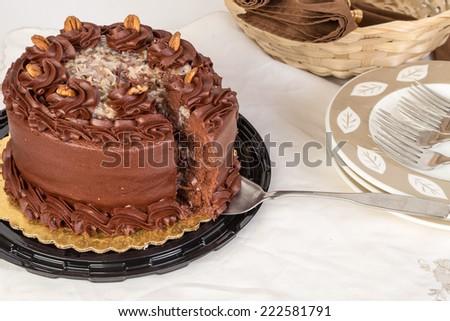 Large Slice On Cake Knife Cut Stock Photo Edit Now 222581791
