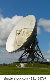 large and small dishes with a cloudy sky