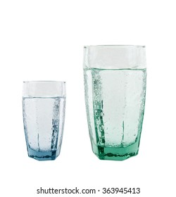Large and small Glass of sparkling water