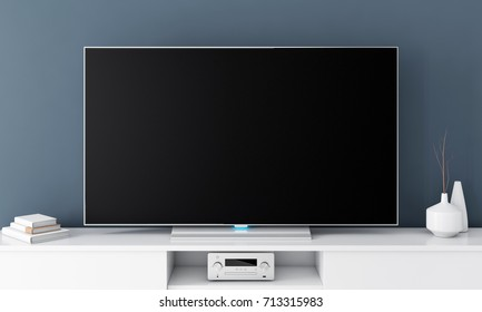 Large Smart Tv Mockup with blank black screen on console. 3d rendering
