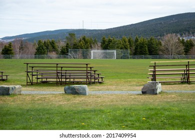A large soccer field covered in natural green grass outdoors under a cloudy sky. The park has a goalie net, bleachers, and a metal fence around the field. There are multiple risers of metal and wood.