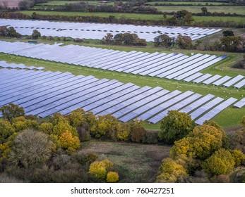 Large solar farm from the air