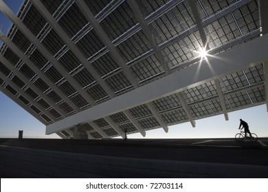 Large solar panel in Barcelona Forum public recreation park
